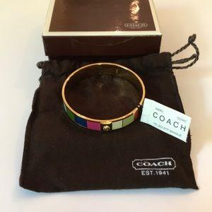 """Coach Gold 1/2"""" Legacy Stripe Bangle Bracelet OS"""